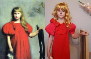 Dziewczynka w czerwonej sukni